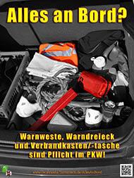 Warnweste, Warndreieck und Verbandkasten/-tasche sind Pflicht im PKW!